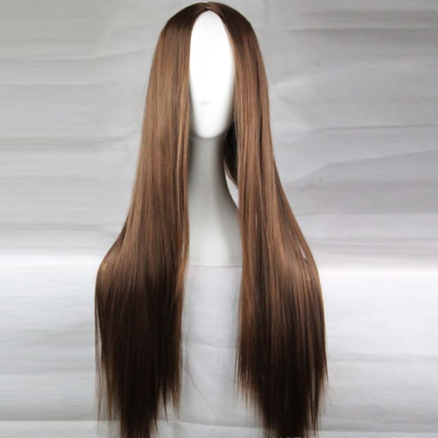 Cosplay Costume Wig Synthetic Wig Straight Straight Asymmetrical Wig Long Light Brown Dark Brown Black#1B Blonde Red Synthetic Hair 28 inch Women's Natural Hairline Middle Part Brown