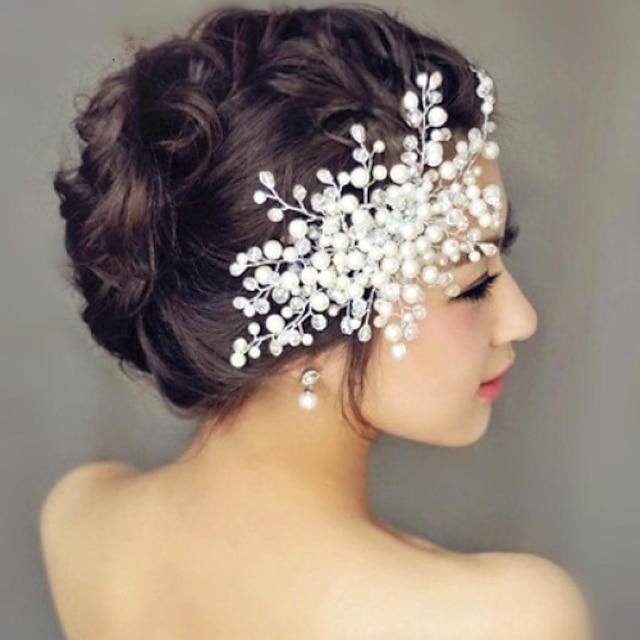 Pearl Hair Combs Headpiece Wedding Party Elegant Feminine Style