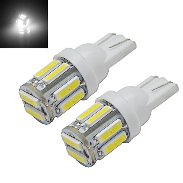 2pcs 1w t10 led w5w ampoule de voiture wedge carte lampe lumière 10 leds smd 7020 blanc froid dc 12v