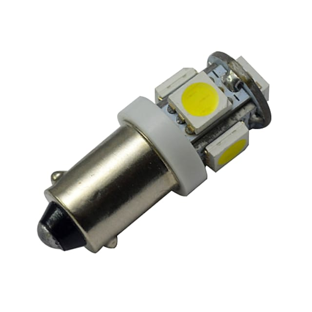 1pc 1W Ba9s LED Car Instrument Bulb 5 SMD 5050 Warm Cold Bulb 12V DC