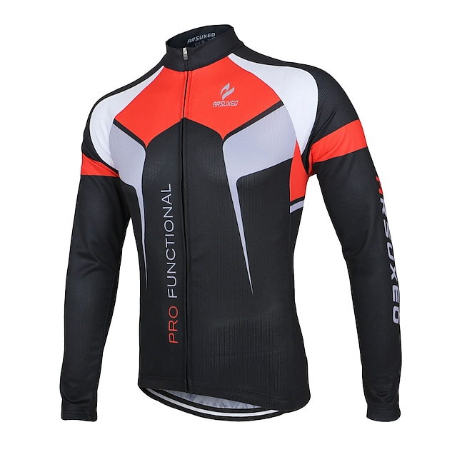 Arsuxeo Men's Long Sleeve Cycling Jersey Winter Summer Polyester White Purple Yellow Patchwork Bike Jacket Jersey Top Mountain Bike MTB Road Bike Cycling Anatomic Design Quick Dry Breathable Sports