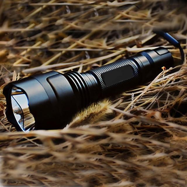 Tactique Rechargeable Lampes Torches LED LED 200 lm 1 Émetteurs avec Pile et Chargeur 5 Mode d'Eclairage Camping / Randonnée / Spéléologie Tactique Rechargeable Prise EU Prise US Noir