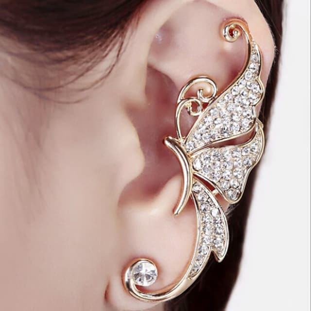 Women's Synthetic Diamond Ear Cuff Climber Earrings Ladies Birthstones Earrings Jewelry White / Purple For Wedding Party Casual Daily