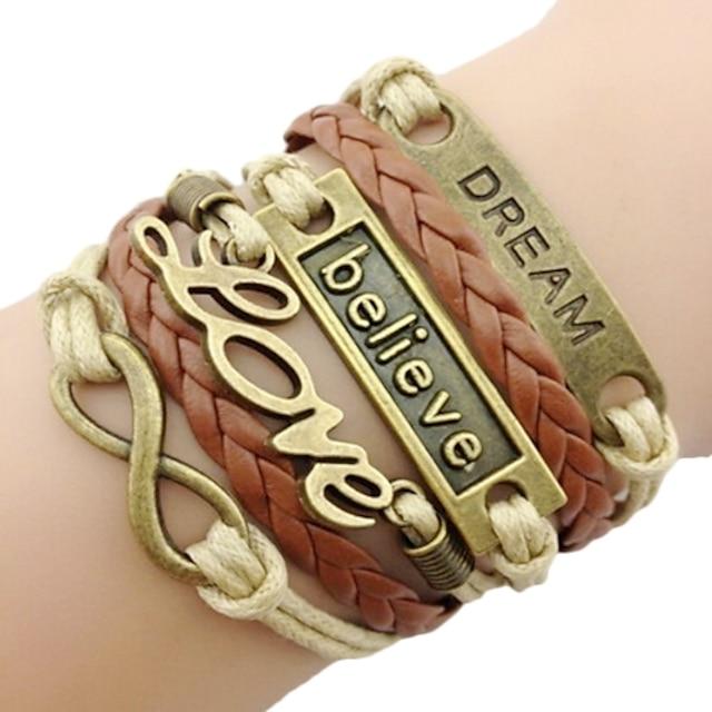 Berlock Armband Läder Armband Multi lager flätad vävd Kärlek Oändlighet Vänskap damer Personlig Grundläggande Mode Årgång Läder Armband Smycken Brun Till Julklappar Tillfällig Dagligen Sport