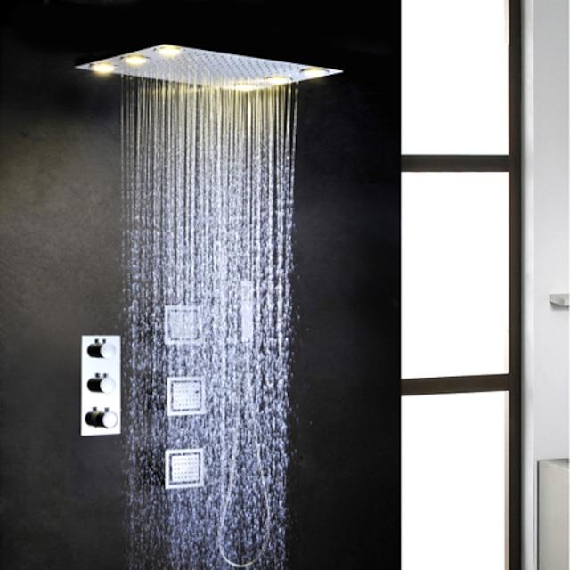 Robinete de Duș A stabilit - Duș De Mână Inclus Termostatic LED Contemporan Crom Valvă de Alamă Bath Shower Mixer Taps