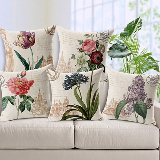 Set of 5 Cotton / Linen Decorative Pillow Covers for Couch, Sofa, or Bed Modern Quality Design Leaves Floral Country Throw Pillow Cover Outdoor Cushion for Sofa Couch Bed Chair