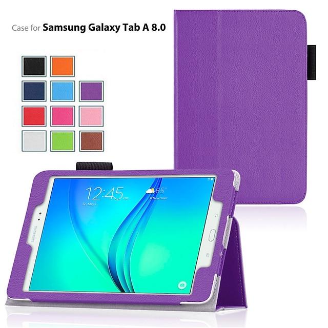 telefon Ügy Kompatibilitás Samsung Galaxy A fül 8.0 A fül 9.7 Héjtok Állvánnyal Flip Egyszínű PU bőr