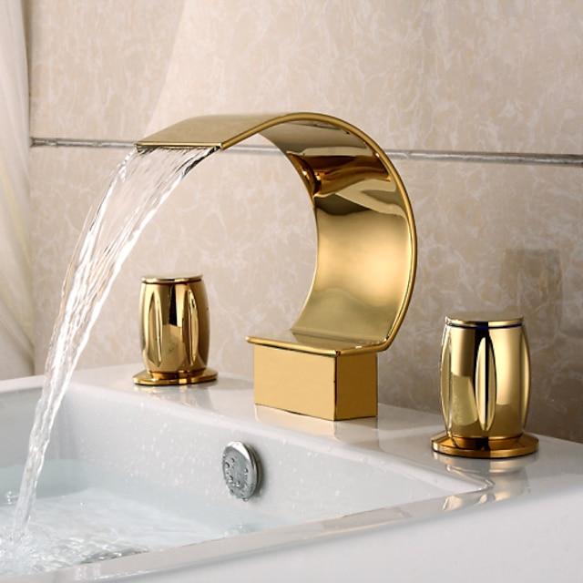βρύση νεροχύτη μπάνιου δύο λαβών, μαύρο νικέλιο / χρυσές τρύπες καταρράκτη ti-pvd ευρείας ορείχαλκου σώμα βρύσης, λαβή ψευδαργύρου με διακόπτη κρύου και ζεστού