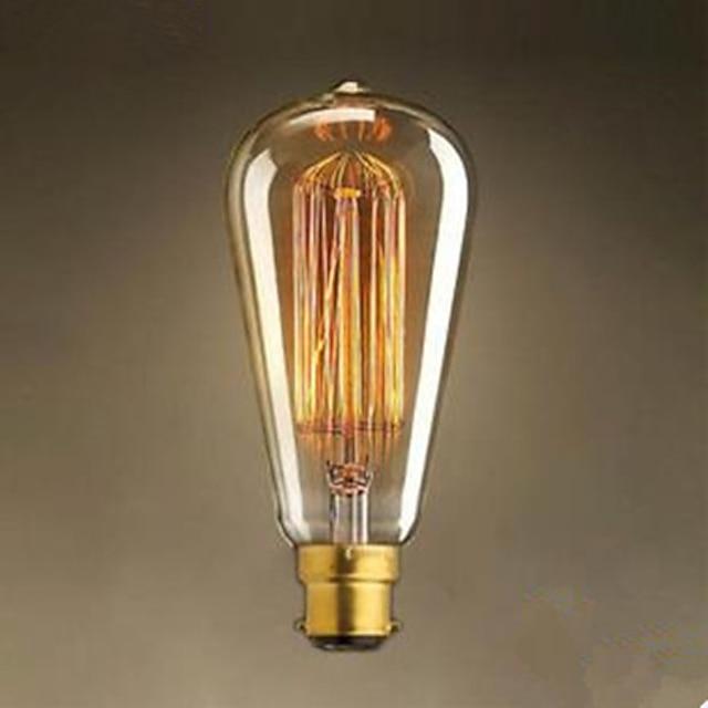 1pç 40 W / 60 W B22 ST64 2300 k Lâmpada incandescente edison vintage