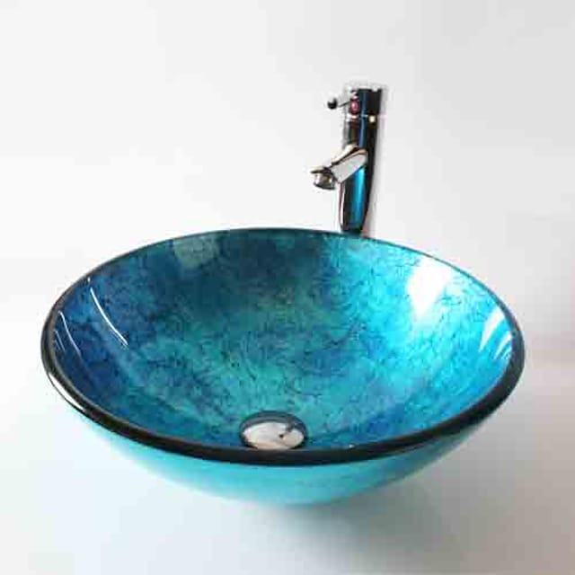 Tempered Glass Round Vessel Sink with Straight Tube Tap,Blue Artistic Tempered Glass Sink Chrome Faucet Finish Bathroom Sink Set