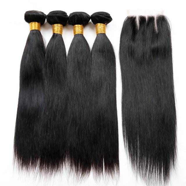 Hair Weaves Peruvian Hair Straight Human Hair Extensions Virgin Human Hair Hair Weft with Closure