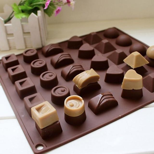 30 hulrom silikon hjerte runde sjokolade mold is kube brett mold