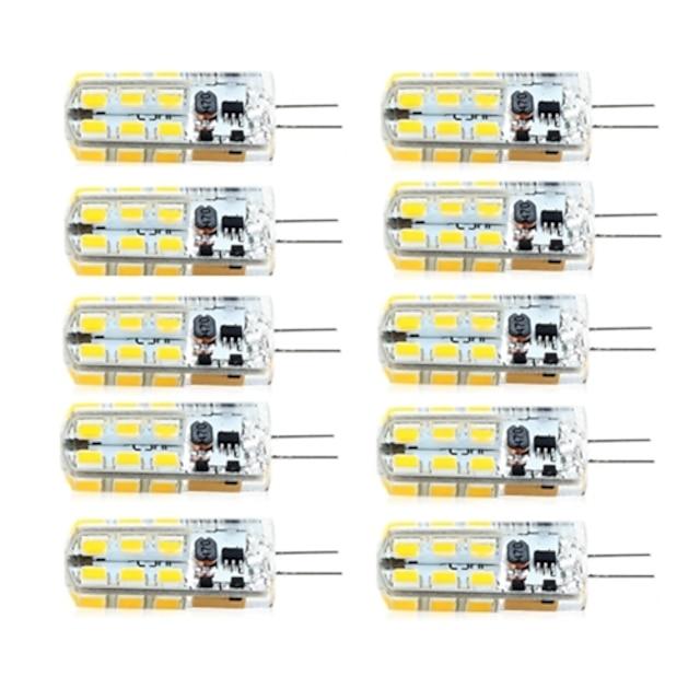 brelong 10 pièces g4 dimmable 2.5w 24led smd2835 maïs lumière blanc / blanc chaud / ac12v / dc12v / ac220v