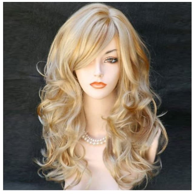 Synthetic Wig Body Wave Wavy With Bangs Wig Blonde Long Black Black / Red Blonde Synthetic Hair 22 inch Women's Side Part Blonde