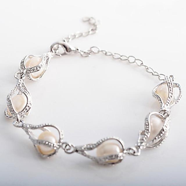 Women's Charm Bracelet Drop Pearl Bracelet Jewelry Silver For Christmas Gifts Wedding