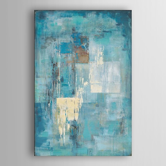 Oil Painting Handmade Hand Painted Wall Art Abstract Turquoise Blue Modern Home Decoration Décor Stretched Frame Ready to Hang