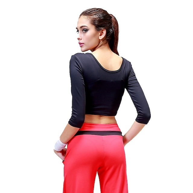 CONNY Women's Classic White Black Red Zumba Yoga Running Top Half Sleeve Sport Activewear Breathable Non-Skid Sweat-wicking Stretchy