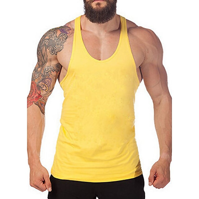 Men's Tank Top Graphic Solid Colored Basic Sleeveless Daily Tops Active White Black Blue