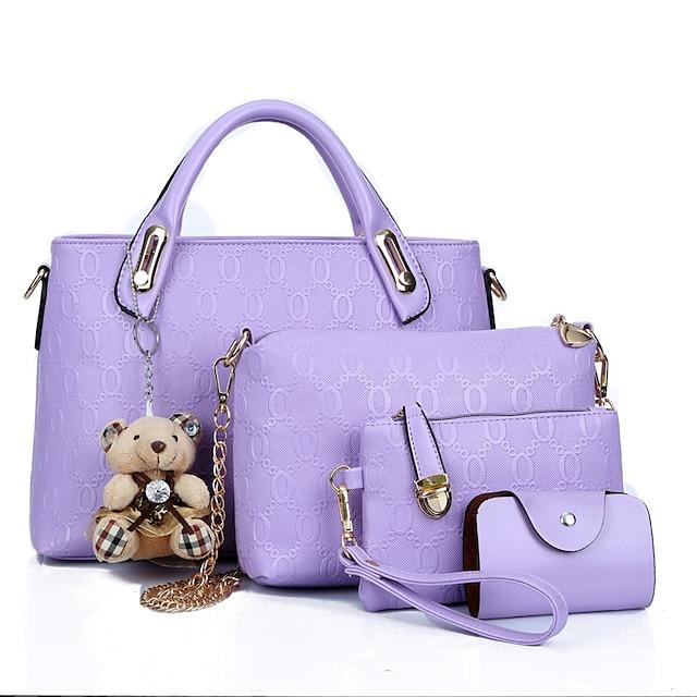 여성용 가방 PU 가죽 커버 가방 세트 4 개 지갑 세트 솔리드 쇼핑 정장 사무실 및 경력 가방 세트 핸드백 밝은 브라운 퍼플 레드 옐로우