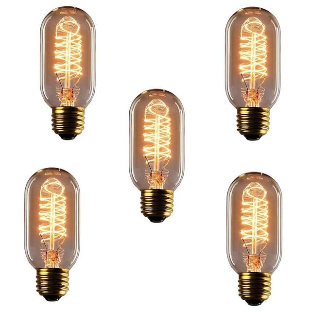 5 pièces 40 W E26 / E27 T45 Blanc Chaud 2300 k Rétro / Intensité Réglable / Décorative Ampoule à incandescence Vintage Edison 220-240 V
