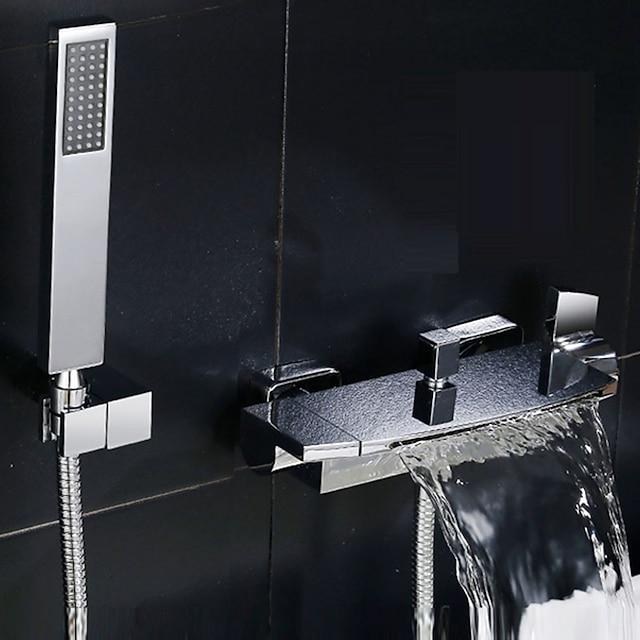 βρύση μπανιέρας με λαβή ντουζιέρας με δύο λαβές / δύο οπές σύγχρονη βρύση ντους με κεραμικές βαλβίδες μπάνιου