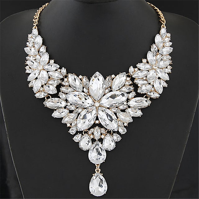 Women's Crystal Statement Necklace Bib Chunky Ladies Elegant Baroque Alloy Rainbow White Red Rose Gray 40+5 cm Necklace Jewelry 1pc For Wedding Party Anniversary Masquerade Engagement Party Prom