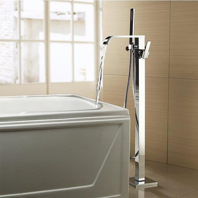 Bathtub Faucet - Contemporary Chrome Free Standing Ceramic Valve Bath Shower Mixer Taps / Two Handles Two Holes