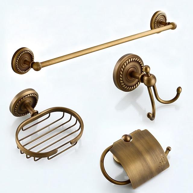 Conjunto de acessórios de banheiro multifuncionais 4 peças de latão antigo incluem toalheiro de papel higiênico suporte para saboneteiras e gancho de roupão montado na parede