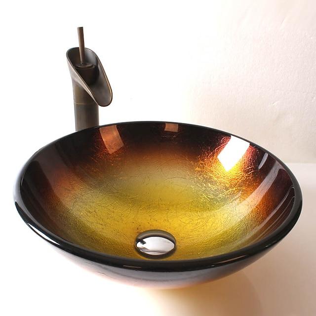 Antik pirinç banyo bataryası, temperli cam yuvarlak banyo lavabosu, krom çinko alaşımlı montaj halkası
