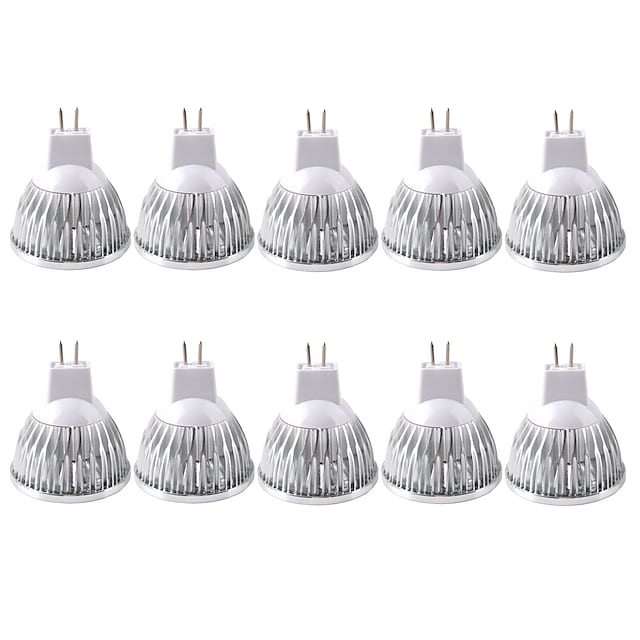 10 Pack, MR16/GU5.3 35W LED Bulbs 210LM, 12V DC, 20 Watt Incandescent Equivalent, Ultra Bright Energy Saving Spotlight