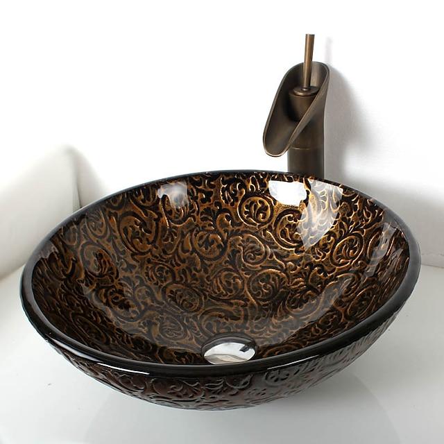 Robinet de salle de bain en laiton antique, lavabo de salle de bain rond en verre trempé, anneau de montage en alliage de zinc et chrome