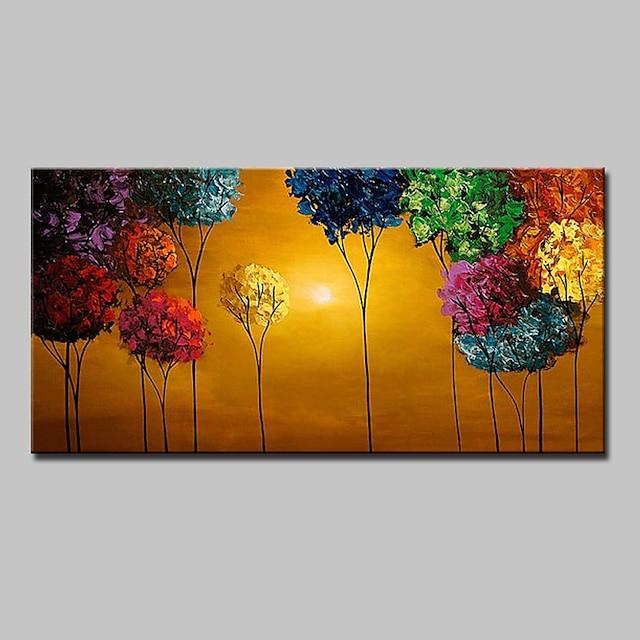 Hang-Boyalı Yağlıboya Resim El-Boyalı - Çiçek / Botanik Modern Çerçeve ile birlikte / Gerilmiş kanvas