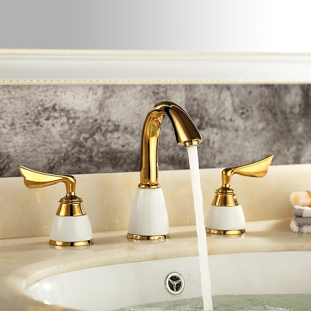 Brass Contemporary Bathroom Faucet,Widespread Two Handles Three Holes Ti-PVD Bathroom Sink Faucet with Ceramic Valve and Hot/Cold Switch