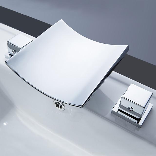 βρύση νεροχύτη μπάνιου μπρούτζου, καταρράκτης με μεγάλη επένδυση χρώμιο δύο λαβές τρύπες βρύσες μπάνιου με λαβή από κράμα ψευδαργύρου, κεραμική βαλβίδα και ζεστό / κρύο νερό