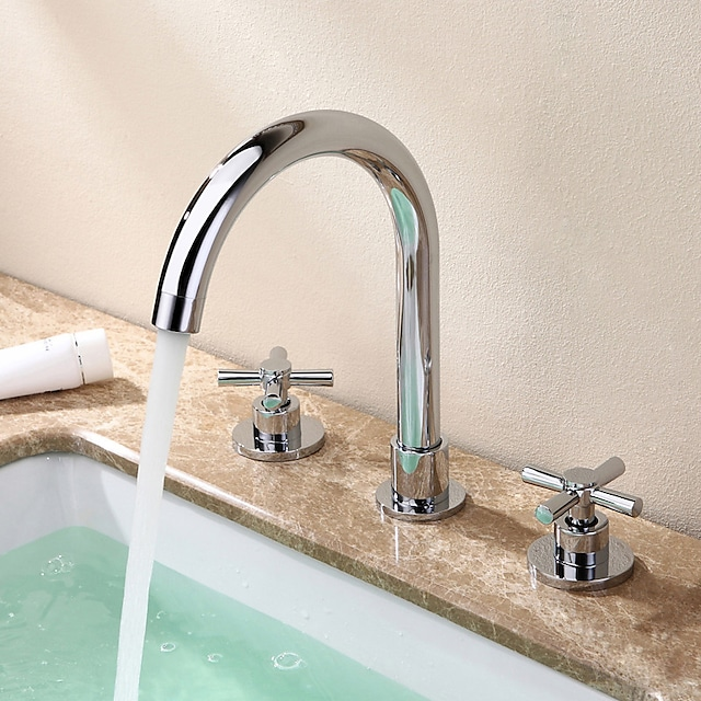 Brass Bathroom Faucet, Chrome Two Handles Three Holes Widerspread Contemporary Bathroom Sink Faucet with Hot and Cold Water