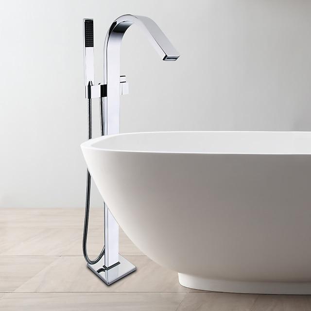 robinet pentru cadă de cupru, montat pe podea, gura standard, contemporan, valvă din ceramică crom, cu un singur mâner, baterii de duș cu o gaură, cu întrerupător cald și rece