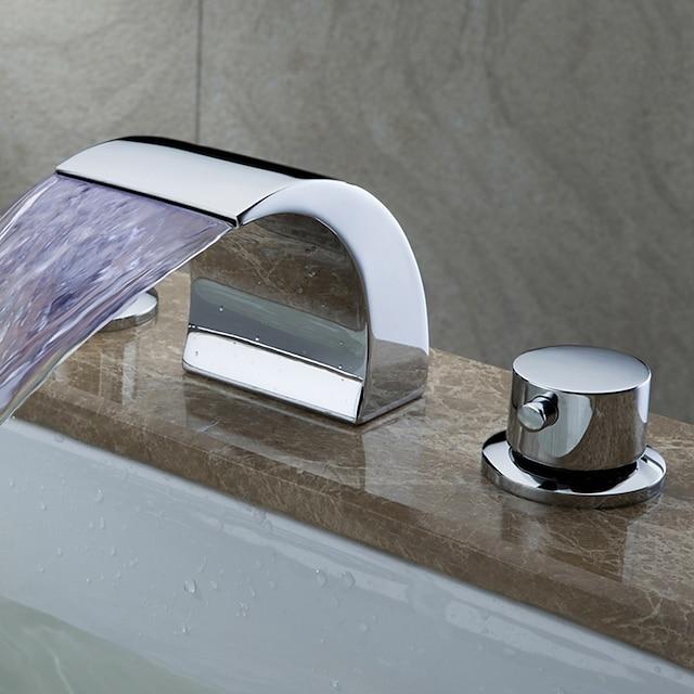 ร่วมสมัย Art Deco/Retro ที่ทันสมัย กระจาย น้ำตก กระจาย LED Ceramic Valve จับสองสามหลุม มีสี, ก๊อกน้ำอ่างล้างจานห้องน้ำ