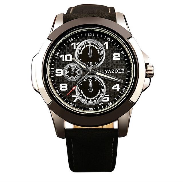 Hombre Reloj Deportivo / Reloj de Moda / Reloj de Pulsera Noctilucente Piel Banda Casual Negro / Marrón