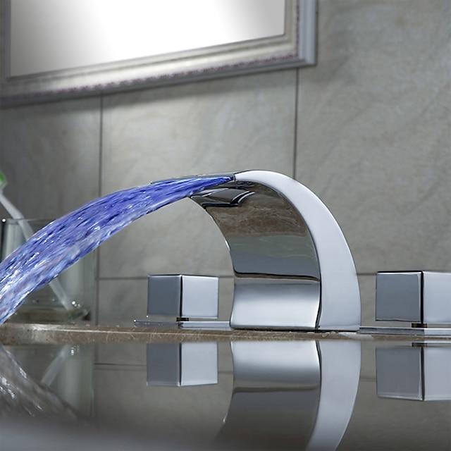 art deco badrumsblandare, utbredd vattenfall ledde två handtag tre hål krom badrumsvattenkran med zinklegeringshandtag, keramisk ventil och varm / kall brytare