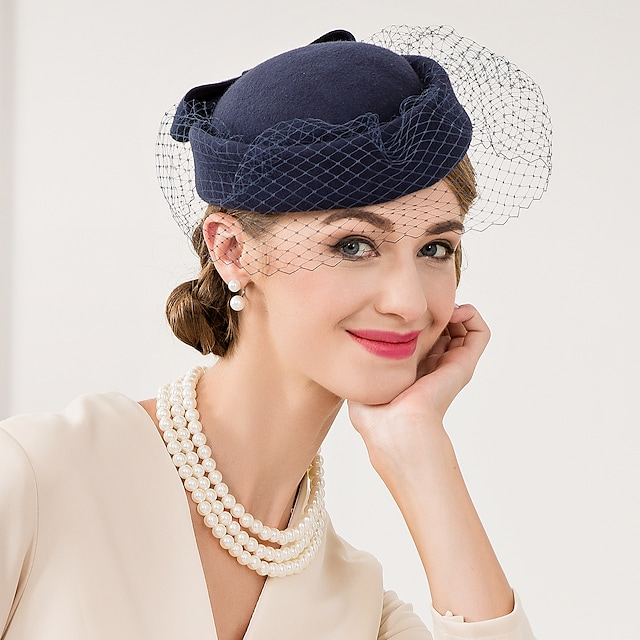 Elegant Lady's Wool Net Mesh Kentucky Derby Hat Fascinators Hats with Bow Women's Wedding Special Occasion Bridal Headpiece