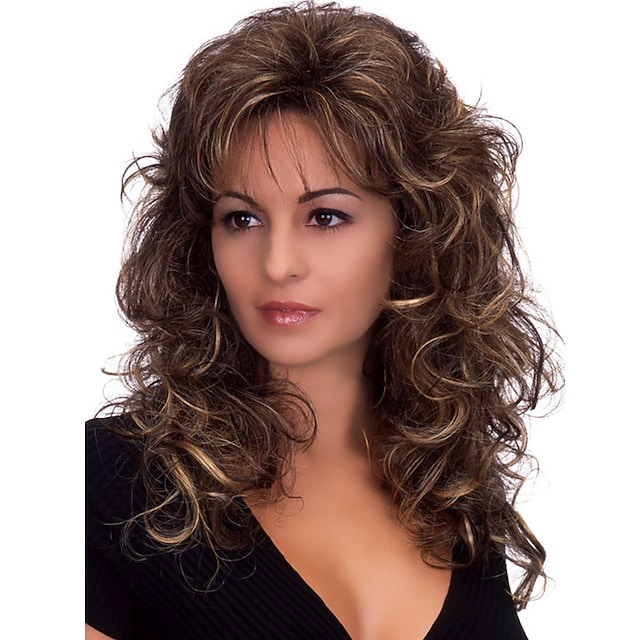 Synthetic Wig Body Wave Body Wave With Bangs Wig Medium Length Dark Brown Synthetic Hair Women's Heat Resistant Fluffy Dark Brown