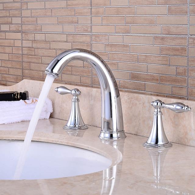 grifo de latón para lavabo, cascada cromado generalizado dos manijas grifos de baño de tres orificios con manija de aleación de zinc, interruptor de frío y calor y válvula de cerámica
