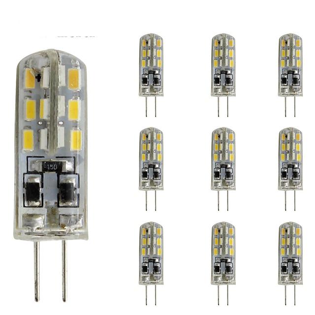 10 stks 1.5 w slanke g4 led crystal bulb bi-pin 24 smd 3014 dc 12 v groen blauw rood licht