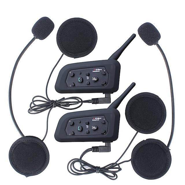vnetphone v6 ejeas v6pro 2 stücke bluetooth motorrad helm intercom headset 1200m wasserdicht motorrad interphone kopfhörer intercomunicador kommunikationssystem verbinden bis zu 6 fahrer schwarz