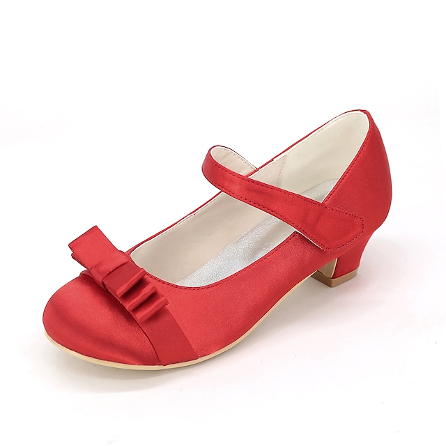 Girls' Heels Flower Girl Shoes Silk Little Kids(4-7ys) Wedding Party & Evening Bowknot White Black Purple Spring & Summer