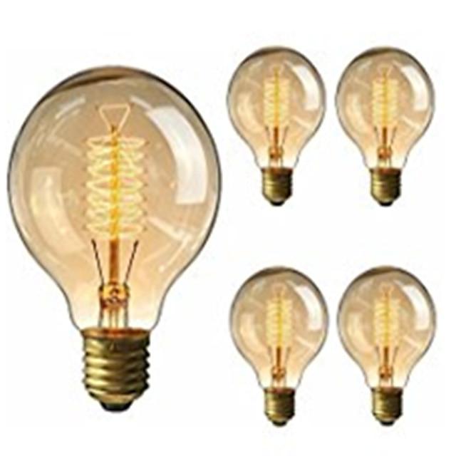 5 шт. 40 W E26 / E27 G95 Тёплый белый 2200-2800 k Ретро / Диммируемая / Декоративная Винтажная лампа накаливания Эдисона 220-240 V