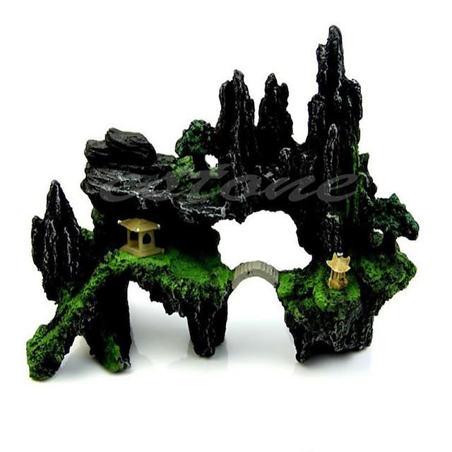 Acquario Decorazioni Acquario Ornamenti Affioramento roccioso Verde Artificiale Resina 24* 9* 17 cm