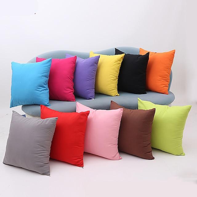 1 pieza de funda de almohada de algodón, color sólido, multicolor, simple, con cremallera cuadrada, clásico, clásico, para exteriores, cojín para sofá, sofá, cama, silla, color caramelo