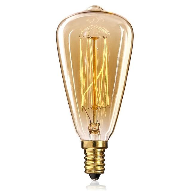 1pc edsion ampoule à incandescence vintage 40w e14 st48 blanc chaud 2300k ampoule edison 220-240v