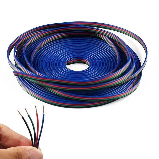 kwb 10m 4-pin cavo di prolunga rgb cavo per 5050 3528 cambia colore flessibile striscia luminosa a led